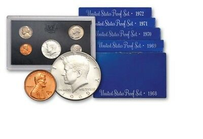 1st 5 YEARS BLUE BOX 1968-72-S (5 SET LOT)  US MINT-PROOFS~~ORIGINAL MINT PACK