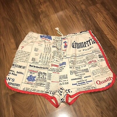 Vtg 60s Robert Bruce GRUBB STUFF Mens LARGE Newspaper Swim suit trunks shorts L