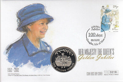 (74321) GB Isle of Man Falklands 50p COIN FDC Queen Golden Jubilee 29 Oct 2001
