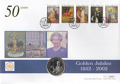(74405) GB Isle of Man Falklands CROWN COIN FDC Queen Golden Jubilee 6 Feb 2002