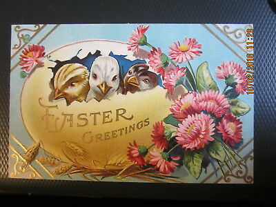 vintage EASTER postcard EGG full of CHICKS PINK FLOWERS used