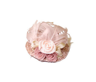 Dollhouse Wearable Ladies Hat With Ribbon Flowers and Pink Feathers Miniatures