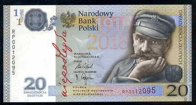 POLAND  20 ZLOTYCH 2018   P NEW  W/FOLDER COMMEMORATIVE  Uncirculated