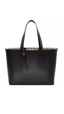 63a4cb99c430 NEW BURBERRY HAYMARKET Check Leather Reversible Tote Bag Black ...