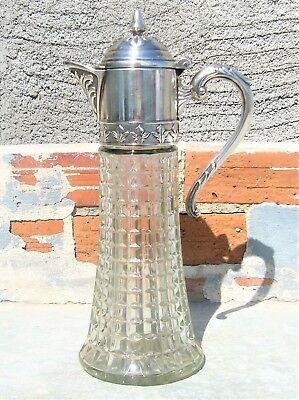 Elegant Vtg Italian Glass Carafe Pitcher Claret Jug W/ Ornate Silver Plated Top