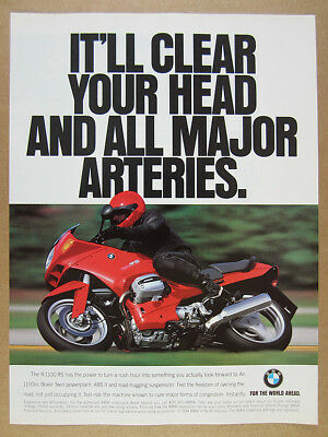 1994 BMW R1100RS Motorcycle color photo vintage print Ad