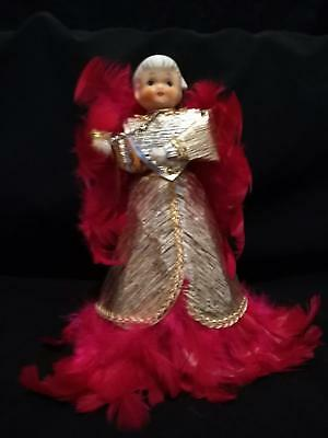 Vintage Porcelain Angel Tree Topper on  Gold Cone w/ Original Hot Pink Feathers