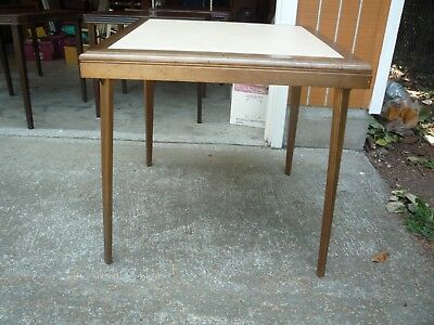 Vintage MID CENTURY Modern 1950's 60's wood folding CARD GAME TABLE padded top