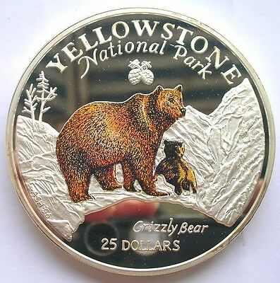 Cook 1996 Yellow Stone National Park Bear 5oz Colour Silver Coin,Proof