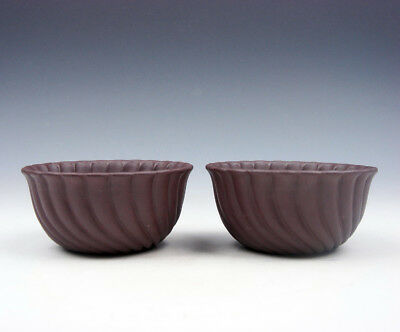 Pair YiXing Zisha Clay Hand Crafted Unique Shape Tea Cups Tea Ceremony #06171802