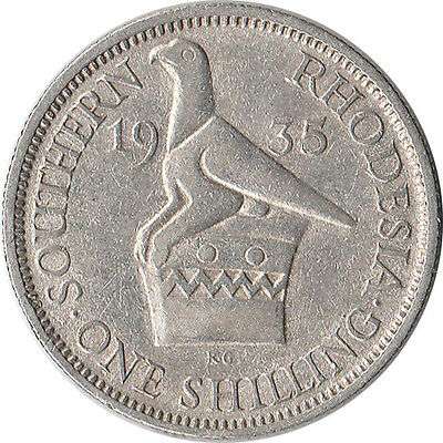 1935 Southern Rhodesia (British) 1 Shilling Silver Coin KM#3 Mintage 830K