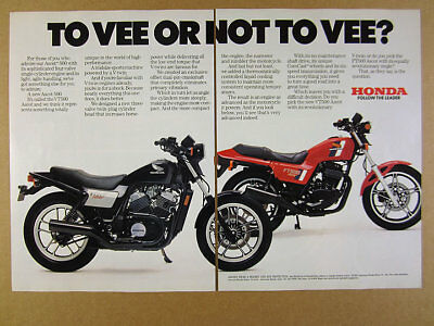 1983 Honda Ascot VT500 & FT500 motorcycles color photo vintage print Ad