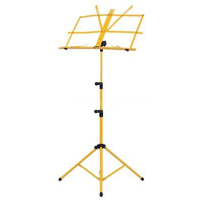 Adjustable Folding Sheet Music Tripod Stand Holder Heavy Duty Yellow+Case B6G4