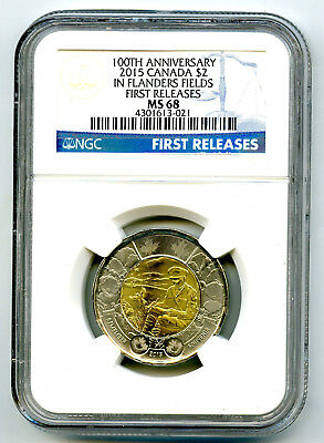2015 Canada $2 Toonie Ngc Ms68 Poppy Flanders Fields Remembrance Highest Grade