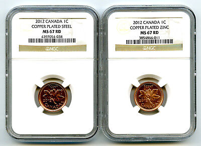 2012 Canada Cent Ngc Ms67 Rd Steel And Zinc Two Coin Set Last Year Of Issue Wow!