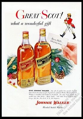 1955 Johnnie Walker black red Scotch Whisky Christmas vintage print ad