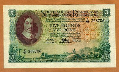 South Africa, 5 Pounds, 1958 P-96c, VF > 60 years old