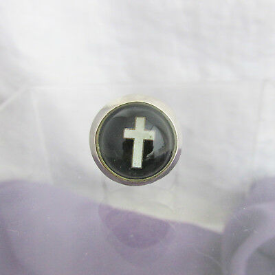 Vintage Domed Reverse Lucite Cross Ring Silver Plate Adjustable Sizes 7-8-9