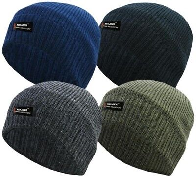 a08a1b88f82880 MENS TURN UP Malange Thinsulate Beanie Hat Thermal 5 Colours Winter ...