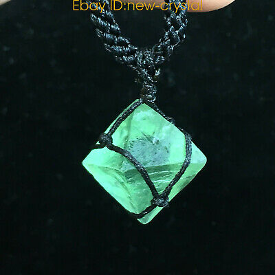DIY Natural Fluorite octahedron pendant rough crystal specimen point healing 1pc