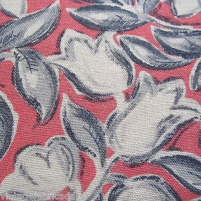 50cm x 93cm Pink Grey Tulip Floral Retro Sewing Vintage Rayon Fabric 1940s