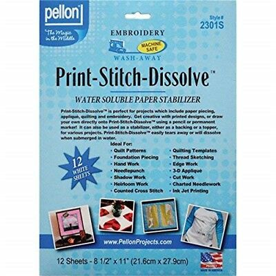 Pello 8.5 x 11-inch Print/stitch/dissolve Embroidery Paper Stabilizer, Pack Of