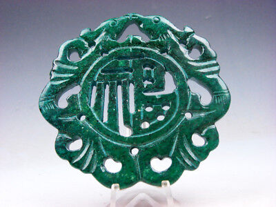Old Nephrite Jade Stone 2 Sides Carved LARGE Pendant 2 Birds Blessing #10021805