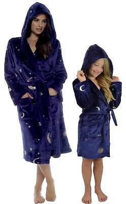Ladies Girls Moon Stars Navy Gold Shimmer Dressing Gown Magical Robe Halloween