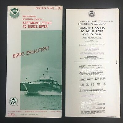 "1976 Nautical Chart/map 11553 W/cover 15X58"" Ex!!! North Carolina Noaa 10318"