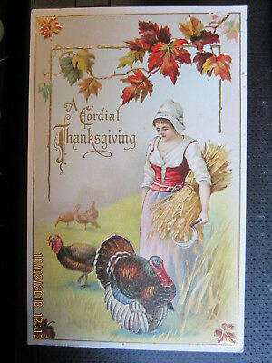 vintage THANKSGIVING postcard PILGRIM LADY w SCYTHE TURKEYS MAPLE LEAVES u/s '11
