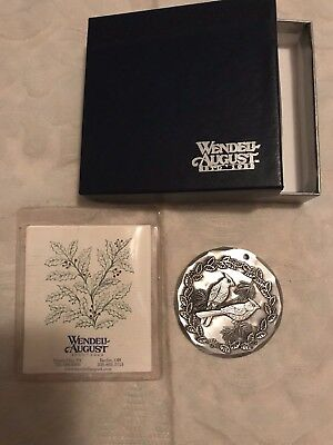 """Wendell August Forge aluminum ornament, disk, 2003 Annual Cardinals 2"""" Nib"""