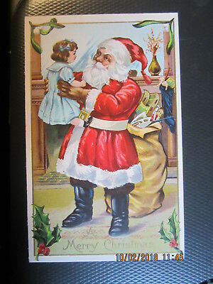 vintage CHRISTMAS postcard SANTA w SACK FULL OF TOYS DOLL STOCKING unused