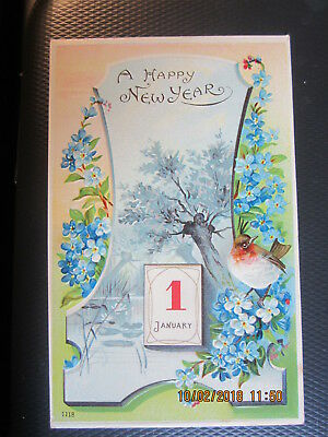 vintage NEW YEAR postcard JANUARY 1 LITTLE WREN ? BLUE FLOWERS used
