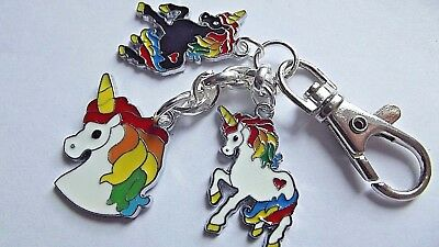 3 Unicorn Swivel Clasp  Key Ring Strong Chain  Silver Plated Gift Boxed Party