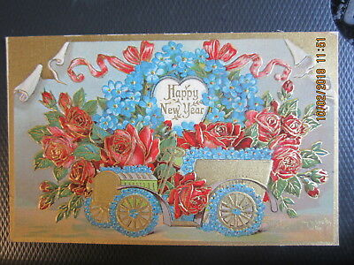 vintage NEW YEAR postcard ANTIQUE GOLD CAR w ROSES BLUE FLOWERS unused