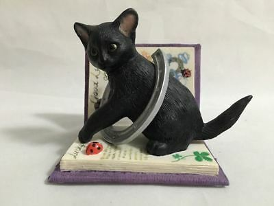 Kitten Tales To Wish 'Good Luck' Black Cat and Horseshoe Book Figurine, 05091
