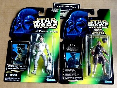 2 x MIXED KENNER STAR WARS ACTION FIGURES; HOTH REBEL SOLDIER & LEIA BOUSHH NEW