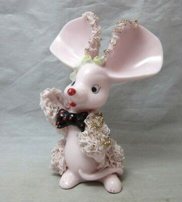 Vintage pink porcelain mouse in bow tie figurine. Spaghetti trim