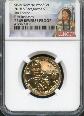 2018 S Sacagawea $1 Jim Thorpe REVERSE PROOF NGC PF69 (RED) FIRST RELEASES