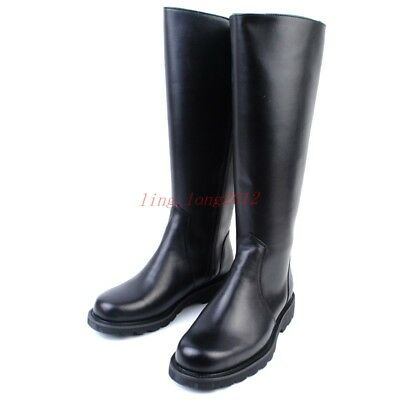 Mens Officer Boot Knee High Riding Military Knight Leather Combat Boots Vintage