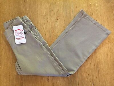 Vertbaudet GIRLS beige stretch trousers adjustable waist Age 6 EU 114 flared NEW