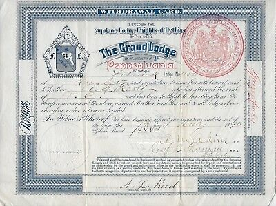 1890 KNIGHTS OF PYTHIAS Derrick Lodge Karns City PA Withdrawal Card Certificate