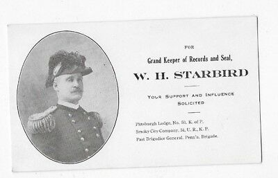 1900's KNIGHTS OF PYTHIAS Pittsburgh Lodge Gen. W H Starbird Election Flyer Card
