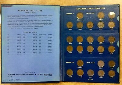 1920 - 1964 Canada Small Cent Collection in Whitman Album - most VF or better
