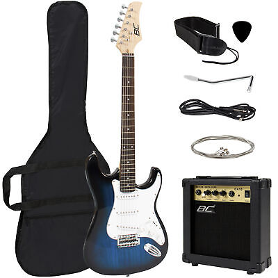 BCP 39in Beginner Electric Guitar Kit w/ Case, 10W Amp, Tremolo Bar