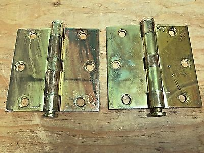 "Pair Vintage Stanley Hardware Solid Brass 3 1/2"" Butt Door Hinges"