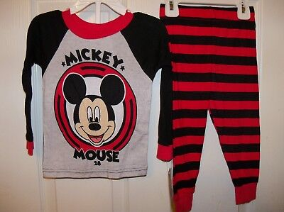 Mickey Mouse Black Red Striped Toddler 2 Piece Long Pajama PJ Boys Size 2T NWT
