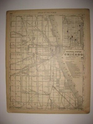 Antique 1880 Chicago Illinois Railroad System Map Named Railroads Depots Fine Nr