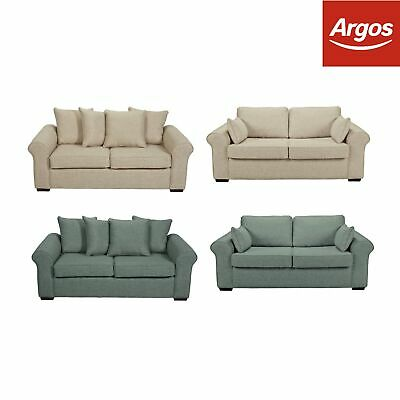 Argos Home Erinne 2 Seater Sofa Bed Fabric / Fabric Pillowback - Sand / Seagrass