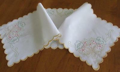 Hand Embroidered Vintage Table Runner - Abstract Floral Design - Scalloped Edge
